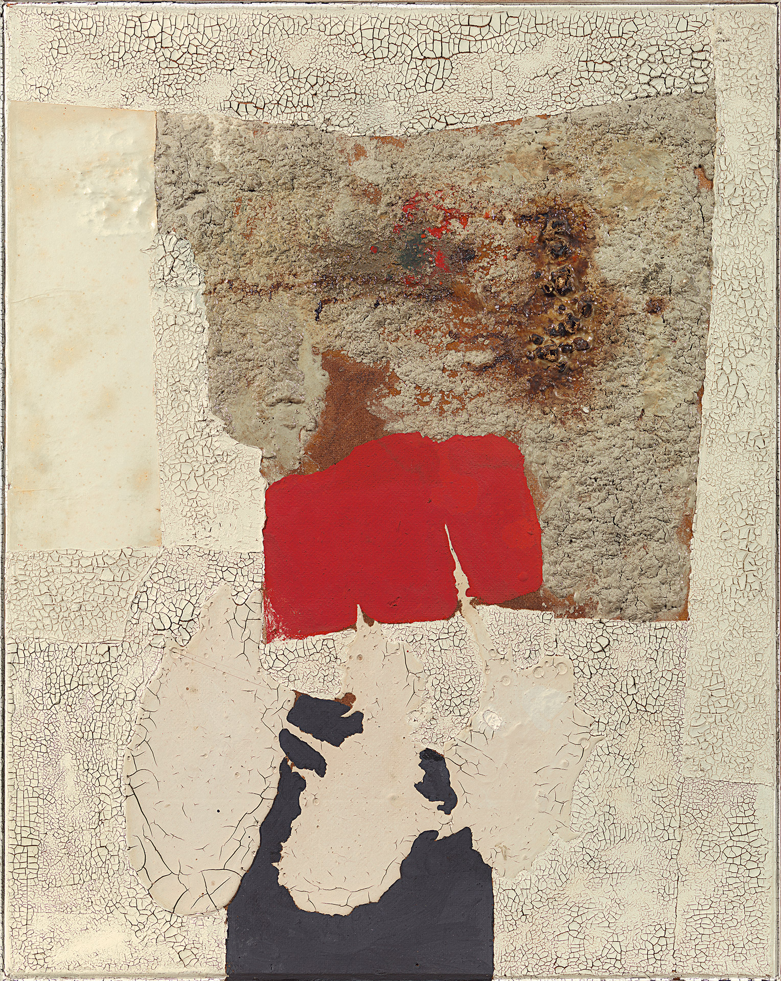 Alberto Burri, Muffa (Mold), 1952, oil, PVA, pumice, sand, and paper on Celotex,