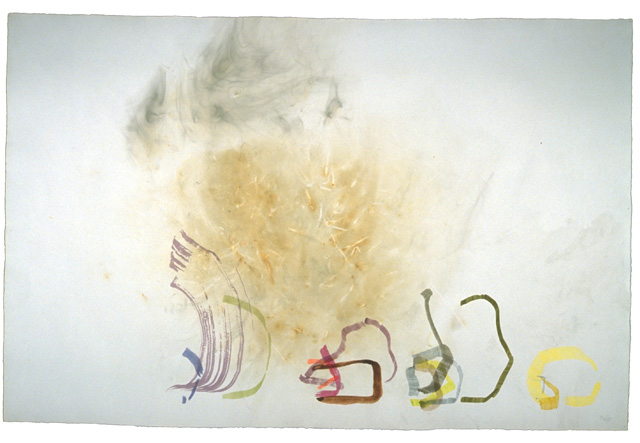 John Cage, River Rocks and Smoke 4/11/90 (#1), 1990, watercolor on paper prepare