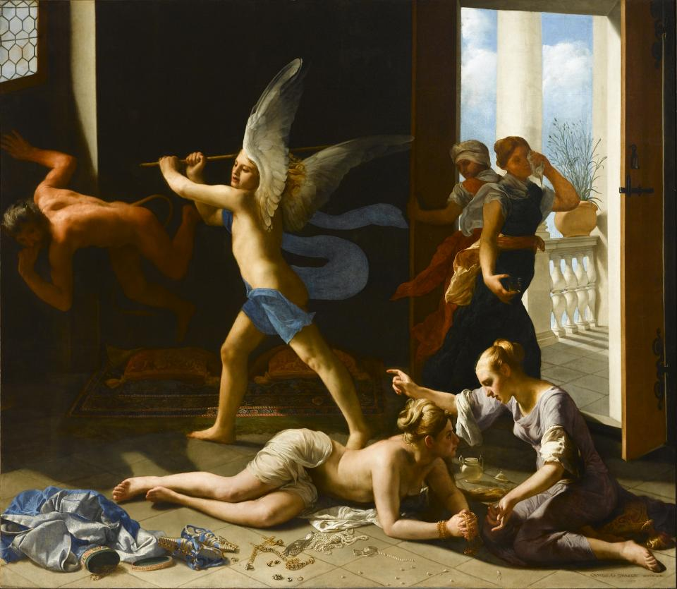 Guido Cagnacci, The Repentant Magdalene, ca. 1660−63, iil on canvas, 90 1/4 x 104 3/4 inches (Norton Simon Art Foundation, Pasadena, California)
