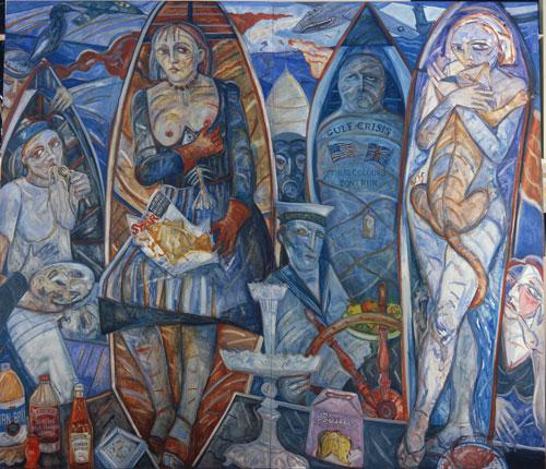 Joyce Cairns, TV Dinners, 1991, oil on panels, 213 x 244 cm (Glasgow City Counci