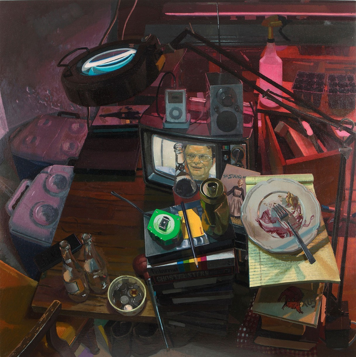 Neil Callander, Dusty's Workspace, oil on muslin on panel, 38 x 38 inches, 2012