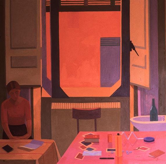 Caren Canier, Albergo della Lunetta,1983, 60 x 60 inches, oil on canvas (courtes