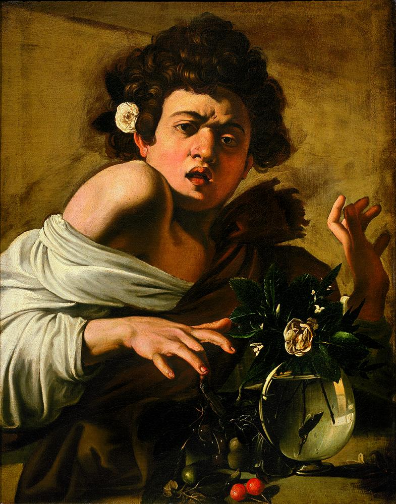 Caravaggio, Boy bitten by a Lizard, 1594, oil on canvas, 65.8 x 52.3 cm (Florenc