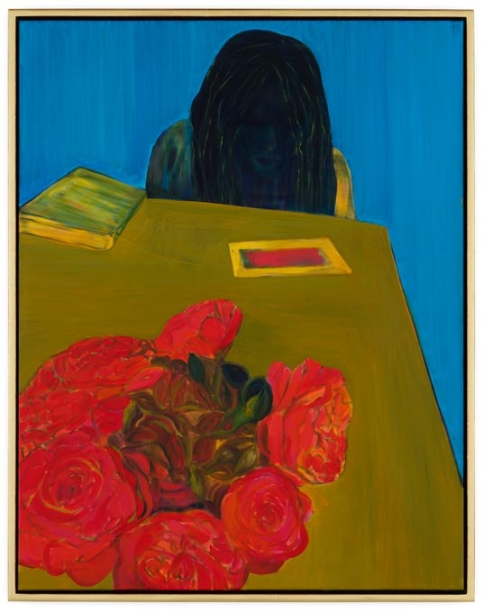Caro Niederer, Lesen (Reading), 2011, Oil on canvas, 57 1/2 x 44 7/8 inches (cou