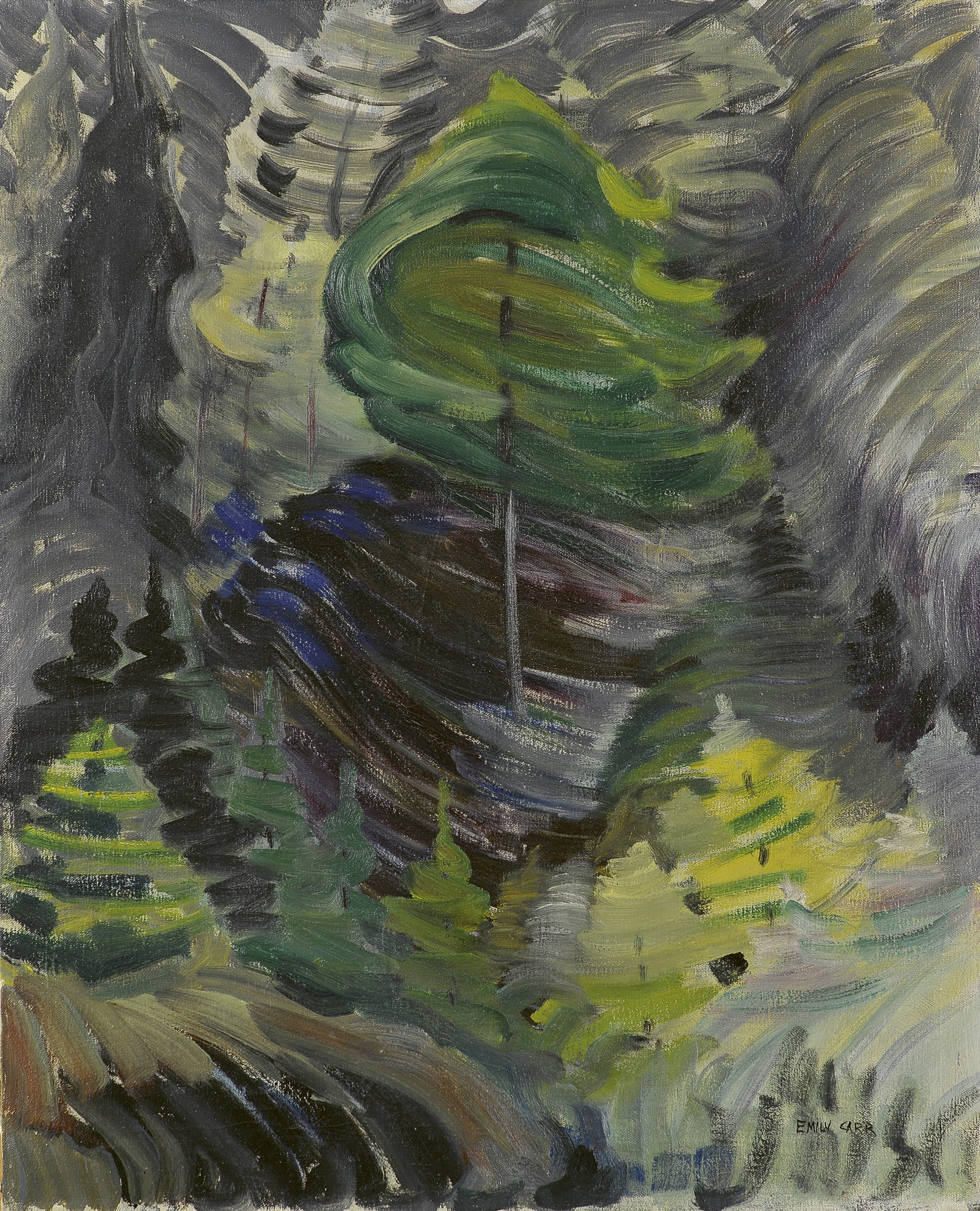 Emily Carr, Juice of Life, 1938–39, oil on canvas (Collection of the Art Gallery of Greater Victoria, Gift of Dr. Ethlyn Trapp, Vancouver. Photo: Stephen Topfer, Art Gallery of Greater Victoria)