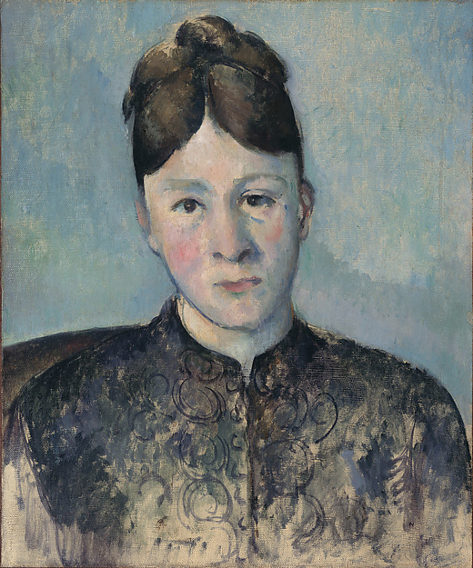 Paul Cézanne, Madame Cézanne, ca. 1885, oil on canvas, 18 1/8 x 15 inches (Priva