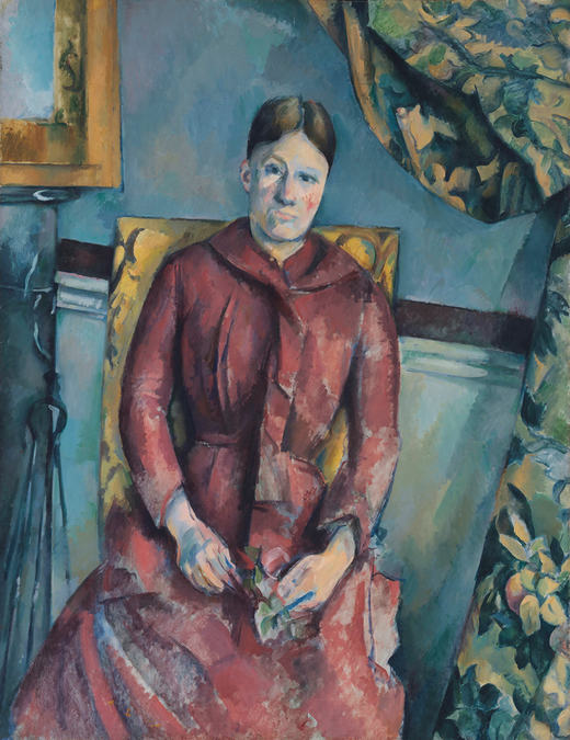 Madame Cézanne in a Red Dress, 1888–90, oil on canvas , 45 7/8 x 35 1/4 inches (Metropolitan Museum of Art)