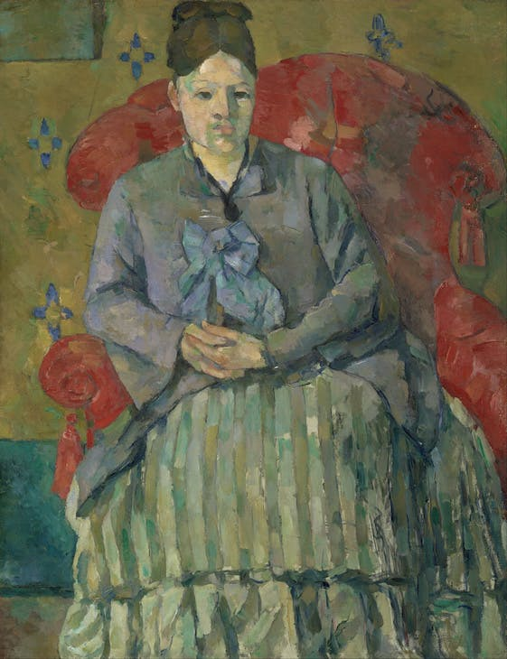 Paul Cézanne, Madame Cézanne in a Red Armchair, c. 1877, oil on canvas, 28 1/2 x 22 inches (Museum of Fine Arts Boston)