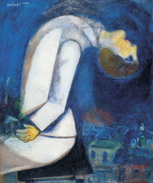 Marc Chagall, Man with his Head Thrown back, 1919, oil on cardboard mounted on p