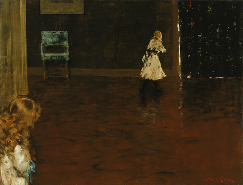 William Merritt Chase, Hide and Seek, 1888, oil on canvas, 27 5/8 x 35 7/8 inches (Phillips Collection)