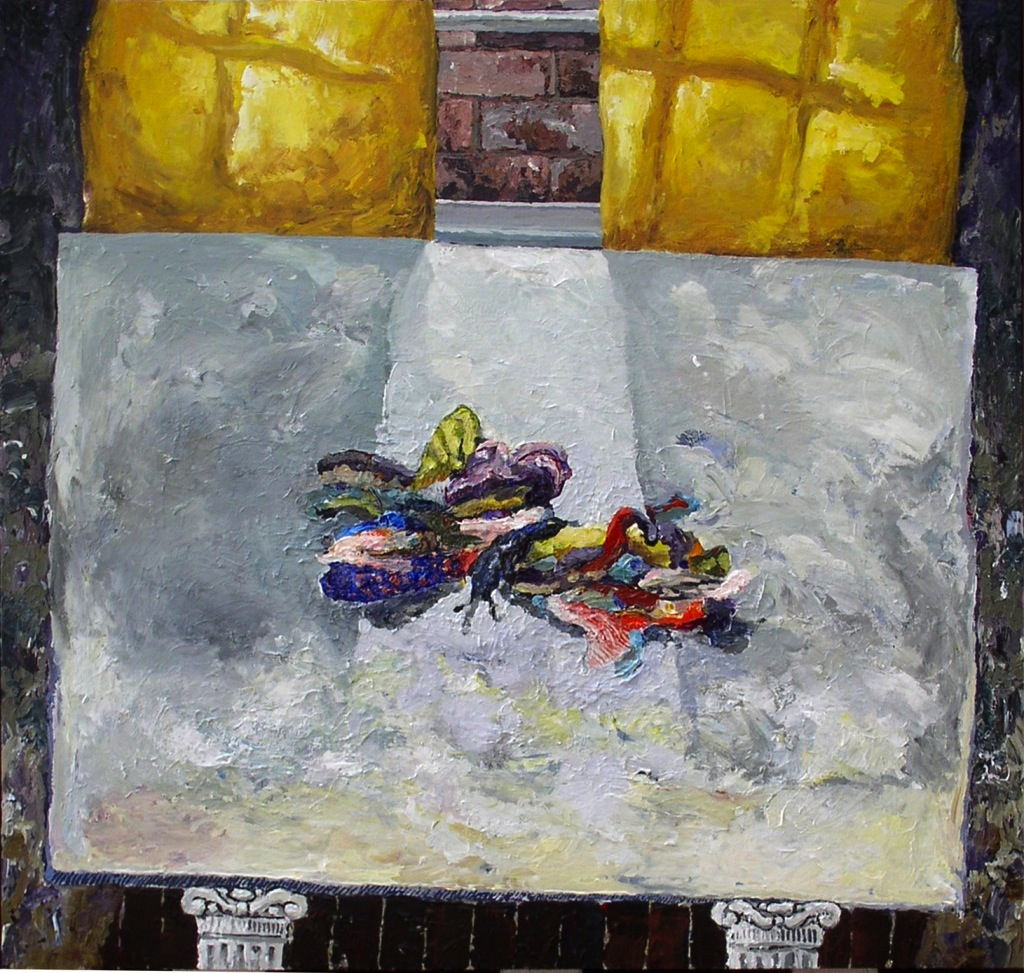 Andy Cherewick, Last First Homemade Butterfly, 38 × 40 inches, mixed media on pa