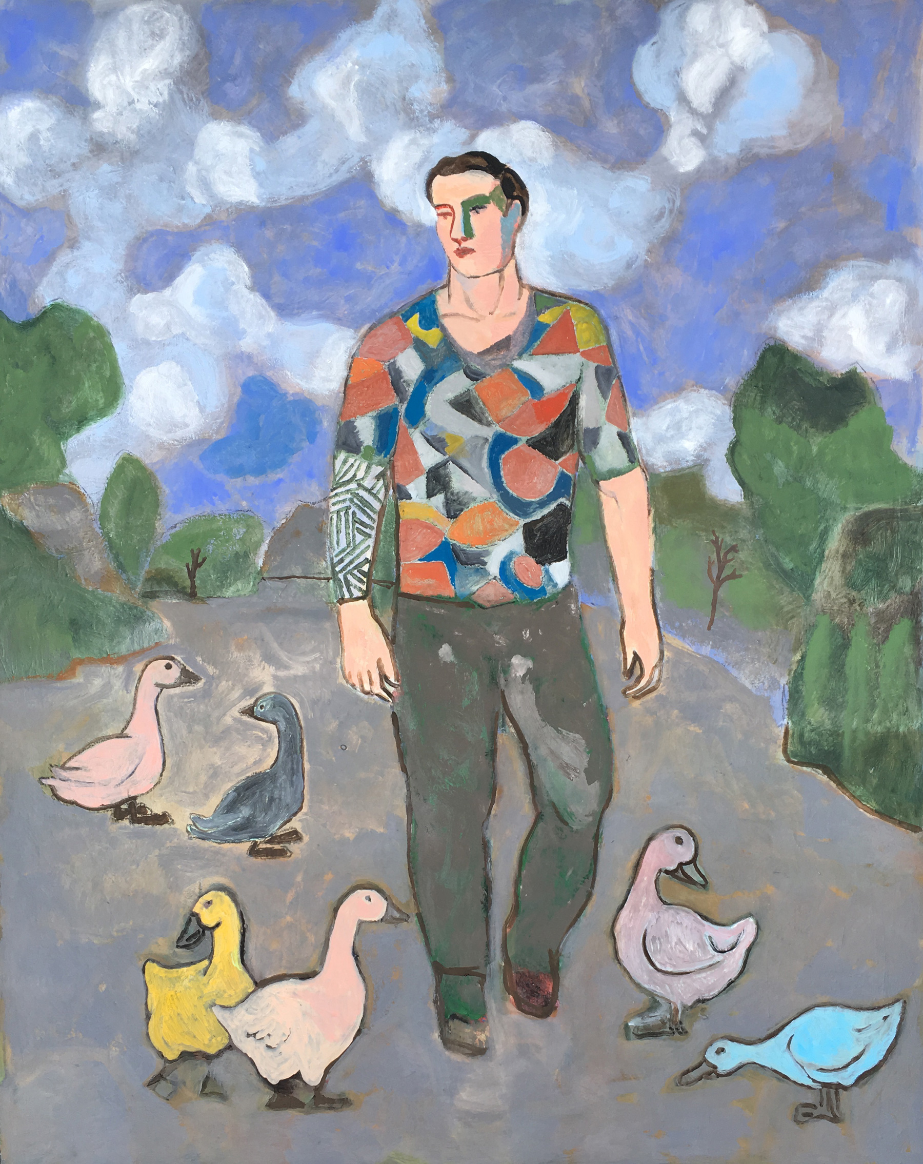 Sandro Chia, The Wayfarer With Ducks, 2017, oil on canvas, 60.24 x 48 inches (courtesy of Marc Strauss Gallery)