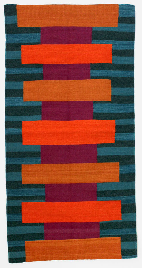Martha Clippinger, Untitled, 2016, hand-dyed woven wool, 61 x 30 1/2 inches, woven by Licha Gonzalez Ruiz (courtesy of the artist)