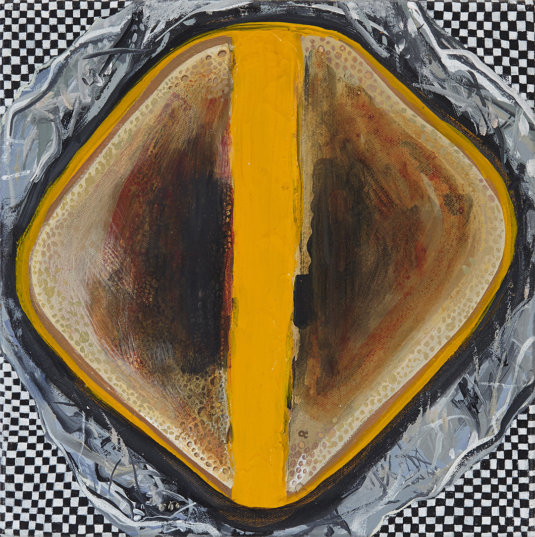 Jennifer Coates, Grilled Cheese, 2016, acrylic on canvas, 12 x 12 inches (courtesy Freight & Volume Gallery)
