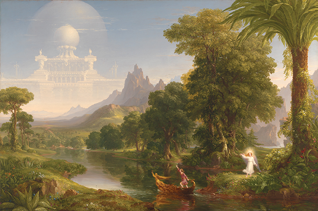 Thomas Cole, The Voyage of Life: Youth, 1840, oil on canvas, 52 1/2 x 78 1/2 inc