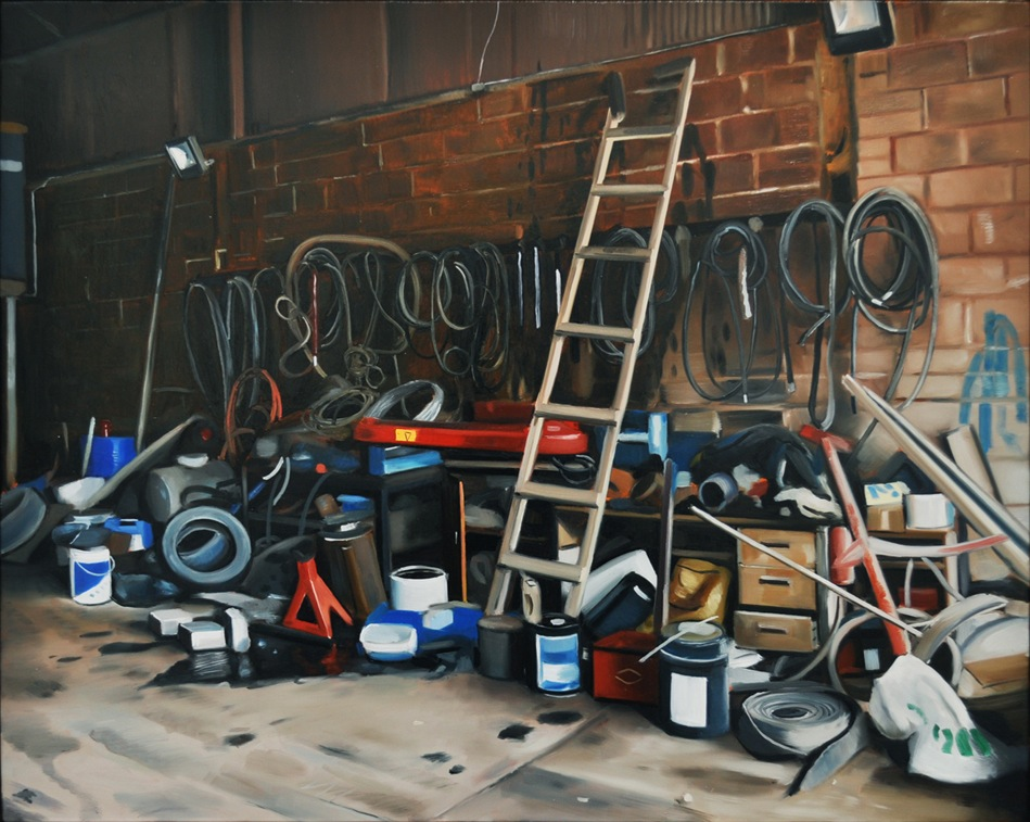 Kevin Cosgrove, Workshop with Ladder, 2012, oil on linen, 15.7 x 19.7 inches (co