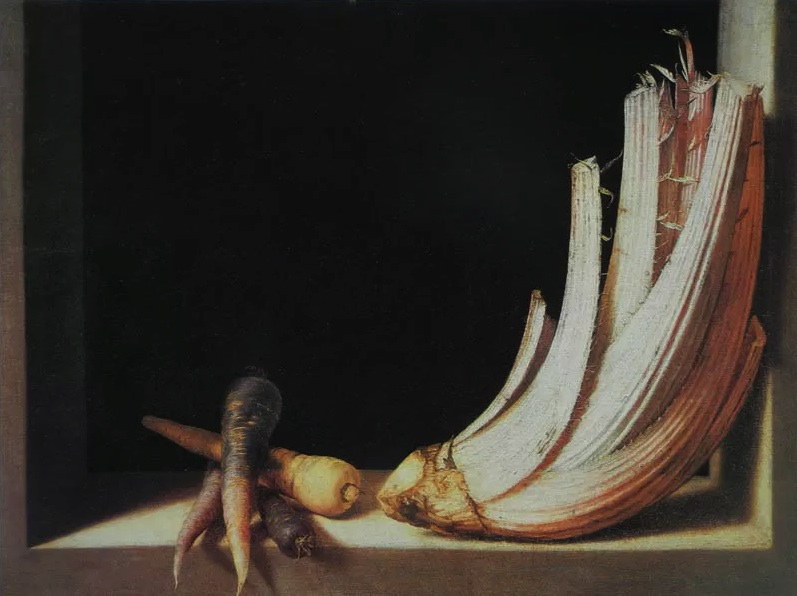 Juan Sanchez Cotan, Cardoon and Parsnips, ca. 1604, oil on canvas, 24 13/16 x 33