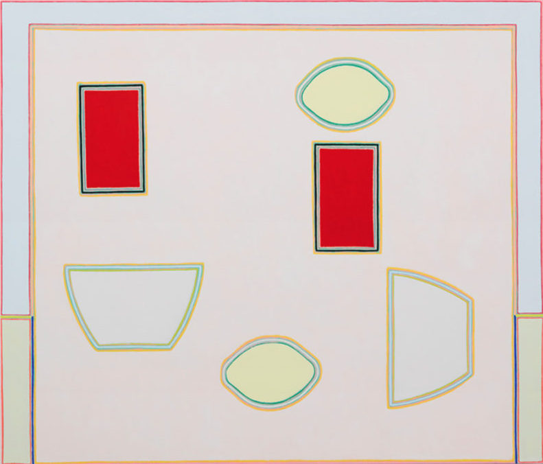 Holly Coulis, Pale Table, Red Tumblers, 2017, oil on linen, 36 x 42 inches (courtesy of Klaus von Nichtssagend Gallery)