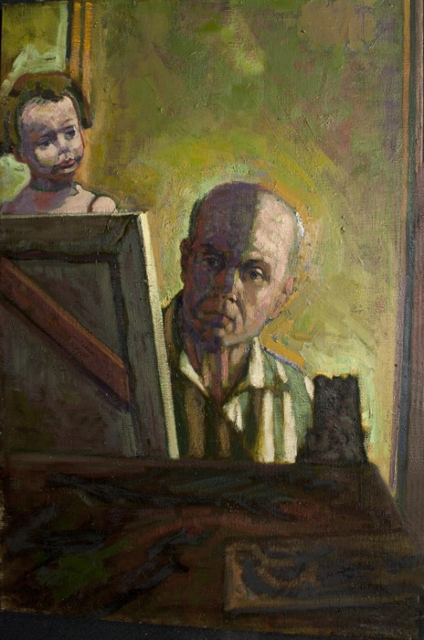 Dominic Cretara, Self-Portrait with Doll, 2011, oil on Canvas, 36 x 24 inches (c