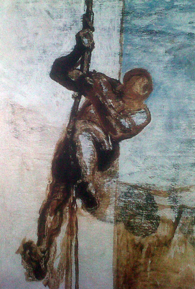 Honoré Daumier, Man on a Rope, c. 1858, oil on canvas, 43 1/2 x 28 1/2 inches (M