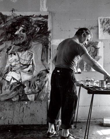Tony Vaccaro, Willem De Kooning painting in East Hampton, L.I. studio, 1953