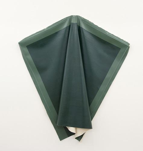 Angela de la Cruz, Deflated Green, oil on canvas, 153 x 180 cm (courtesy of Fold