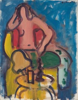 Robert De Niro, Sr., Seated Nude with Green Pants, 1970, oil on linen, 36 x 28 i