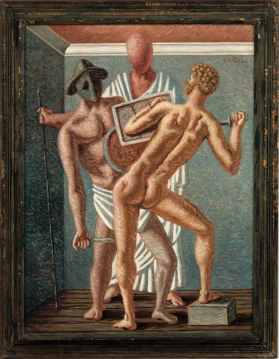 Giorgio de Chirico, Gladiateurs (Gladiators), 1928, oil on canvas, 51.2 × 38.2 inches (Nahmad Collection, Monaco © 2016 Artists Rights Society (ARS), New York / SIAE, Rome, Photo: Adam Reich)