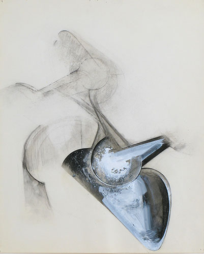 Jay DeFeo, Untitled (Shoetree series), 1977, graphite, acrylic and charcoal on p