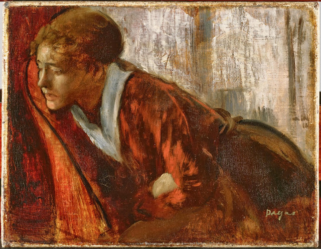 Edgar Degas, Melancholy, late 1860s, oil on canvas, 7 1/2 x 9 3/4 inches (Philli