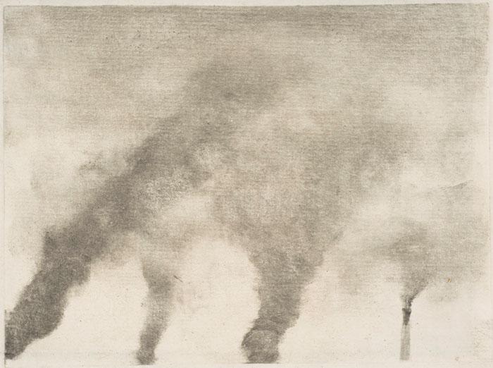 Edgar Degas, Factory Smoke, 1877–79, monotype on paper, 4 3/4 x 6 1/4 inches (Me