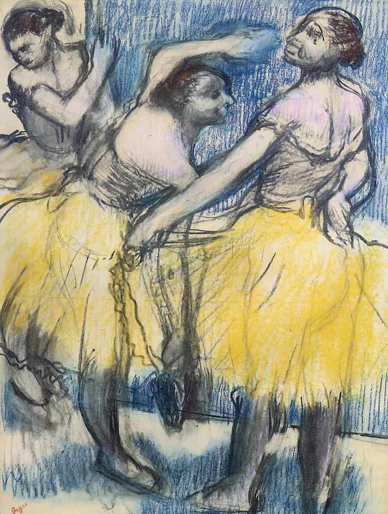 Edgar Degas, Three Dancers In Yellow Skirts, 1900