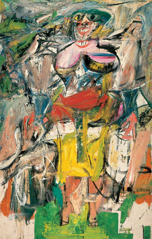 Willem de Kooning, Woman and Bicycle, 1952-53, oil, enamel, and charcoal on line