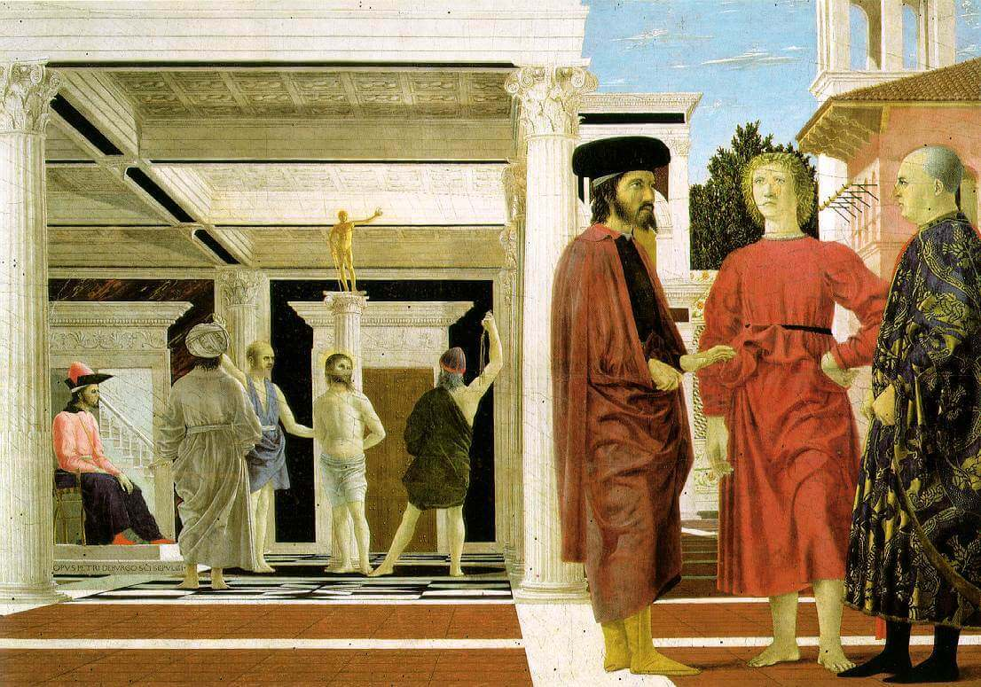 Piero della Francesca, Flagellation of Christ, 1455-1460, oil and tempera on panel, 23 x 32 inches