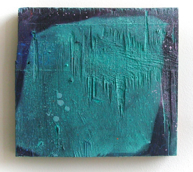Lisa Denyer, Cube, acrylic on found plywood (courtesy of the artist)