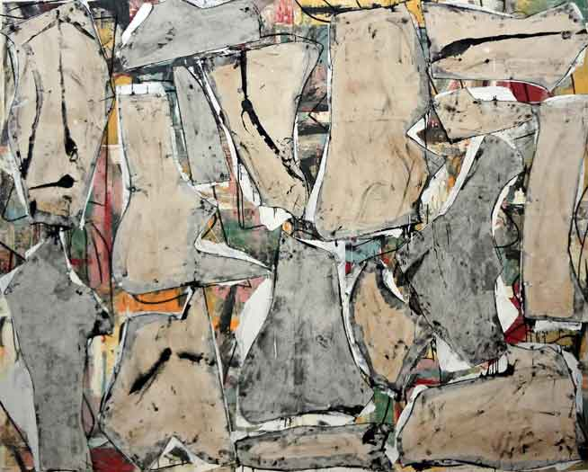 Matthew Dibble, Pearl Beach, oil, charcoal, paper and canvas on canvas, 72 x 90 inches, 2014 (courtesy of First Street Gallery)
