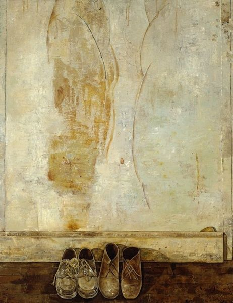 Simon Dinnerstein, Joel's Shoes, 1974-1975, oil on wood panel, 64 x 48 inches (c