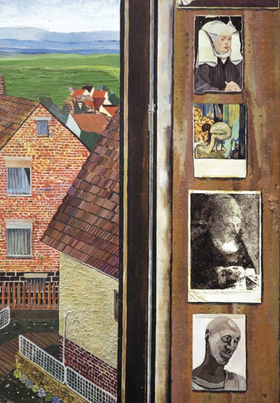 (detail) Simon Dinnerstein, The Fulbright Triptych , 1971-74, oil on wood (court