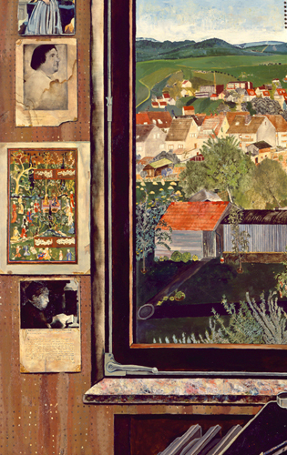 (detail) Simon Dinnerstein, The Fulbright Triptych, 1971-74, oil on panel (court