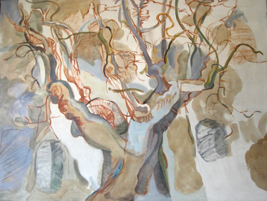 Lois Dodd, Apple Tree, 1964, oil on linen, 54 x 74 inches (© Lois Dodd, courtesy
