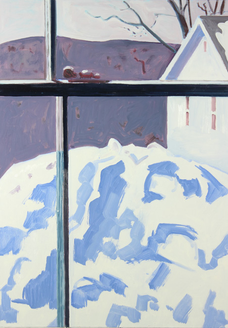 Lois Dodd, Porch Roof Snow Pile, 2014, oil on masonite, 20 x 14 inches (courtesy