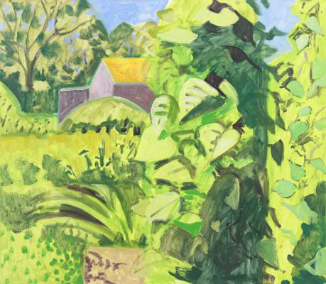 Lois Dodd, Barn and Bean Vines, 2013, oil on panel, 15-3/4 x 18-1/4 inches (cour
