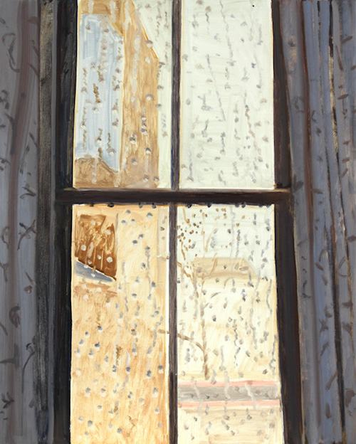 Lois Dodd, Rainy Window, NYC, 2014, oil on masonite, 20 x 16 inches (courtesy of