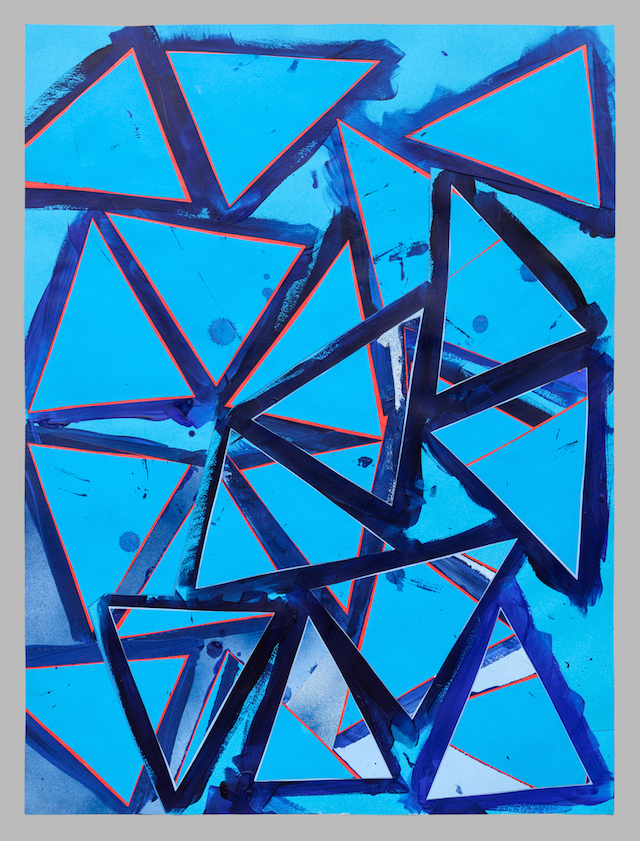 Lecia Dole-Recio, Untitled (bl.ppr.bl.trngls.rd.lns.), 2013, acrylic, spray pain