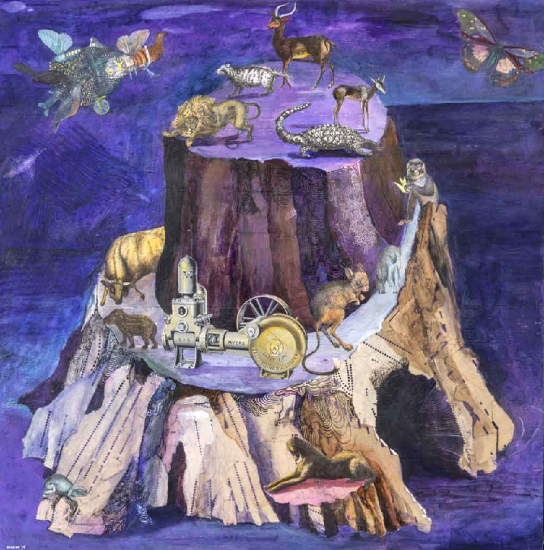 Josh Dorman, Violet Island, ink, acrylic, antique paper on panel, 18 x 18 inches