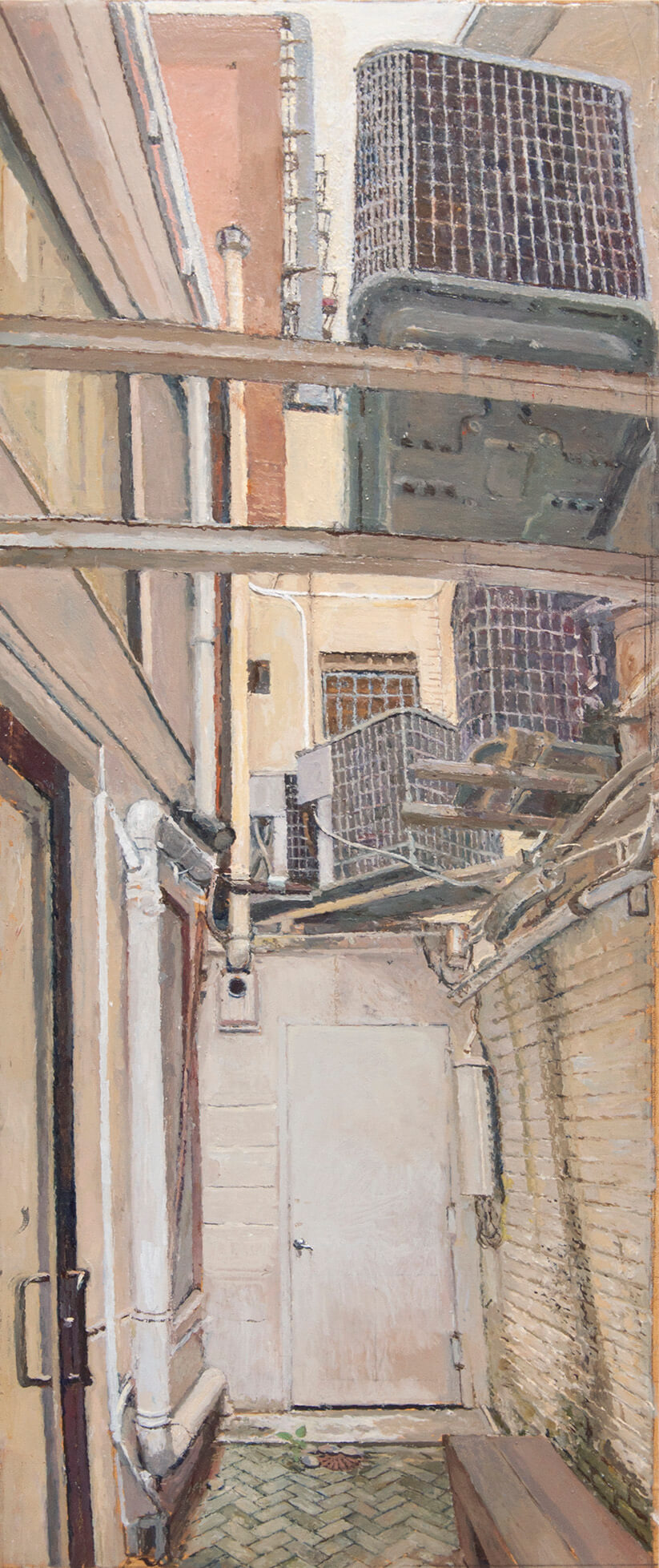 Rackstraw Downes, Outdoor Passageway at 15 Rivington, 2016, oil on canvas, 29 x 12 inches (courtesy of Betty Cunningham Gallery)