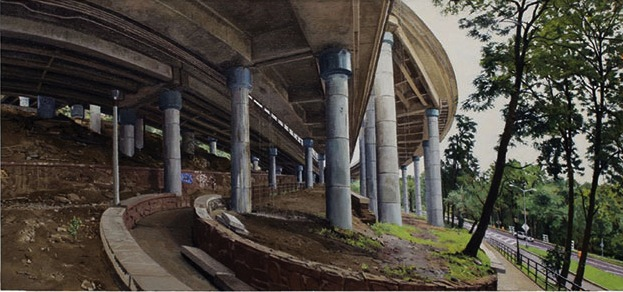 Rackstraw Downes, Under an Off-Ramp from the George Washington Bridge, 2011, oil