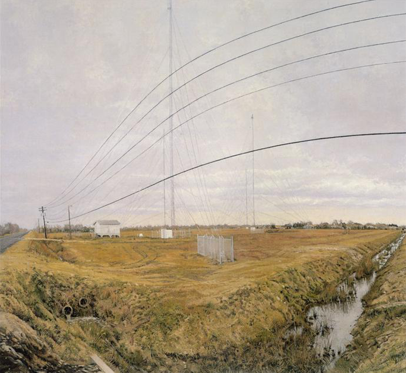 Rackstraw Downes, At the Confluence of Two Ditches Bordering a Field with Four R