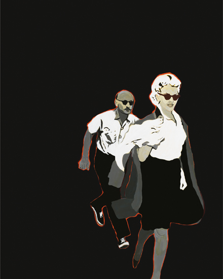 Rosalyn Drexler, Marilyn Pursued by Death, 1963, acrylic and paper collage on ca
