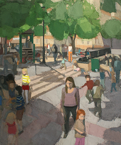 John Dubrow, Standing Playground, Early Summer, 2012-13, oil on linen, 72 x 60 i